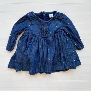 Baby Gap Blue Denim Embroidered Polka Dot Dress